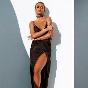 Sabo skirt Plunging Silk Maxi Skirt